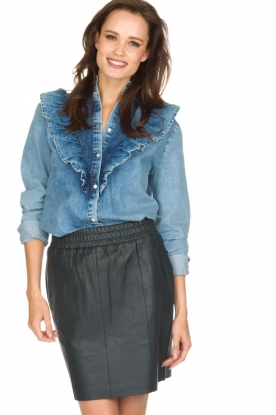 Set | Denim blouse met ruches Carri | blauw