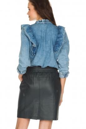 Set | Denim blouse met ruches Carri | blauw