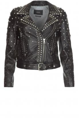 Set |  Leather Biker jacket Stacey | black