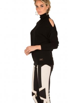 ELISABETTA FRANCHI | Gebreide open shoulder trui Winnie | zwart