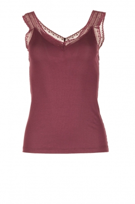 Hanro |  Silk mix cami with lace Cardi | bordeaux