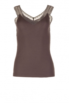 Hanro |  Silk mix cami with lace Cardi | grey