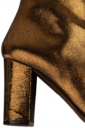 L'Autre Chose | Metallic leren enkellaars Dakota | goud/brons
