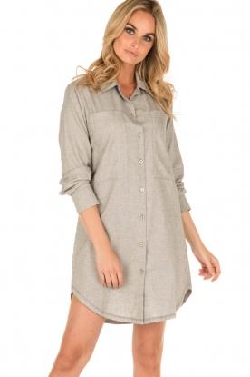 Sunday in Bed   Flanellen nachthemd Stassy   grijs