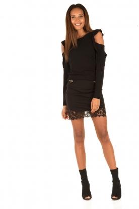 Patrizia Pepe | Cut-out trui Lavinia | zwart
