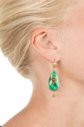 Gas Bijoux | Vergulden oorbellen Goutte | groen