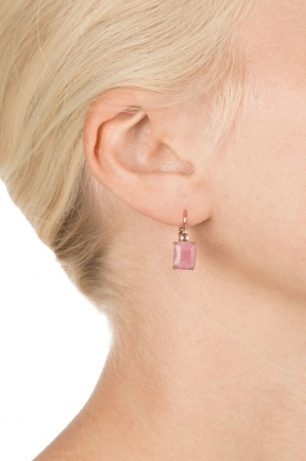 Satellite Paris | 14k gouden oorbellen Sofia | roze