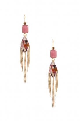 Satellite Paris | 14k verguld gouden oorbellen Sofia | roze
