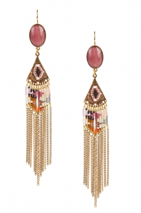 Satellite Paris |  14k gilded golden earrings with chains | pink
