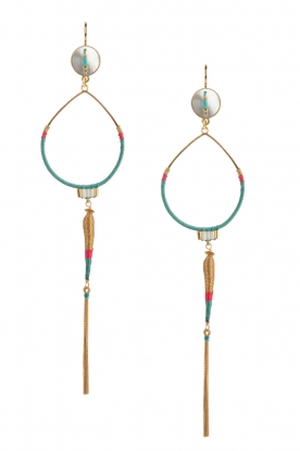Satellite Paris |  14k gilded golden earring | turquoise