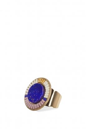 14k verguld gouden ring  koningsblauw