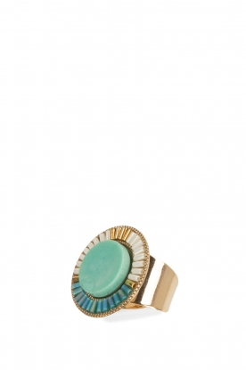 Satellite Paris |  14k gilded gold ring | blue