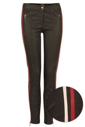 Arma |  Lamb leather pants with side stripe Lacay | black