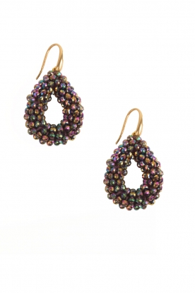 Miccy's |  Earrings Open Crystal Drops | black