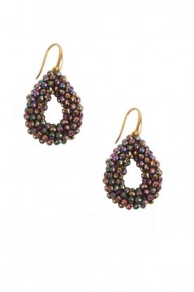 Miccy's | Oorbellen Open Crystal Drops | zwart