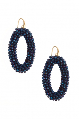 Miccy's |  Earrings Crystal Ovals | blue