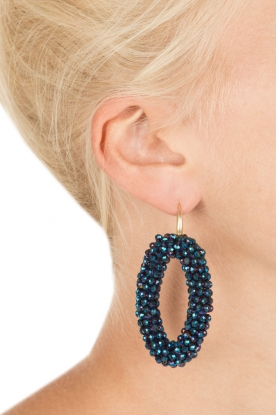 Miccy's | Oorbellen Crystal Ovals | blauw