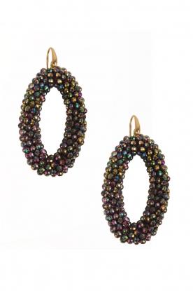 Miccy's | Oorbellen Crystal Ovals | zwart