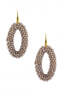Miccy's |  Earrings Crystal Ovals | grey