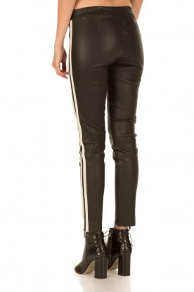 Arma | Lamsleren broek met zijstreep Lacay | zwart