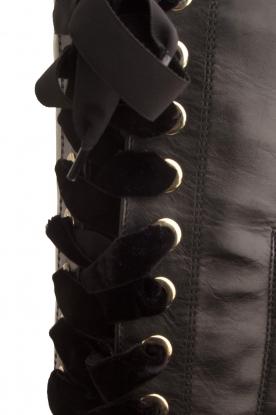 Noe | Leren veterlaars Nucca | zwart