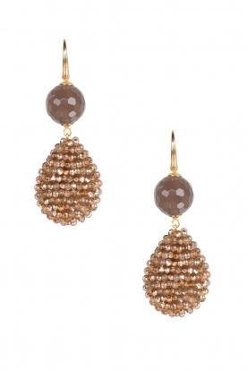 Miccy's |  Earrings crystal drop with stone | Gold