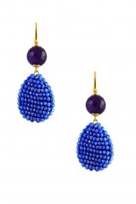 Miccy's   Oorbellen kristallen druppel met steen   Blauw
