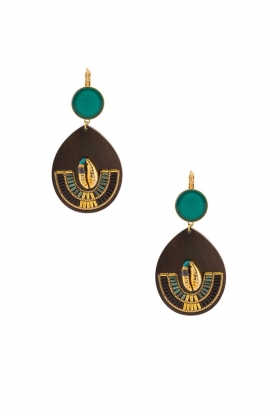 Satellite Paris | 14k vergulde golden earrings Nova | blauw
