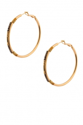Satellite Paris |  14k gilded gold earrings Verena | black