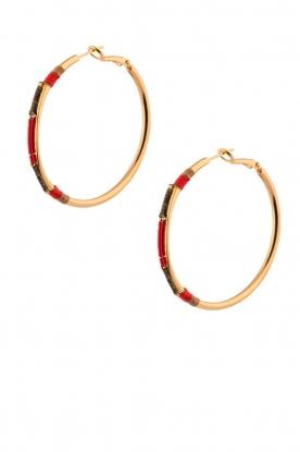 Satellite Paris | 14k verguld gouden oorbellen Verena | rood