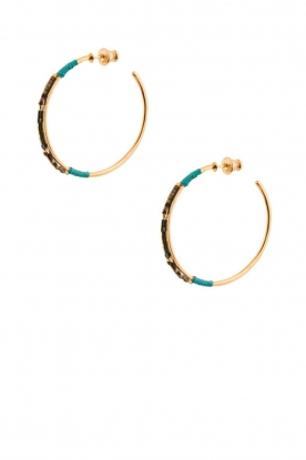 Satellite Paris |  14k gilded gold earrings Gloria | Blue