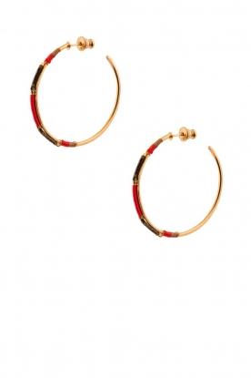 Satellite Paris | 14k verguld gouden oorbellen Gloria | Rood