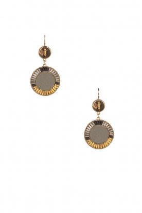 Satellite Paris |  14k gilded metal golden earrings Tanarive | black