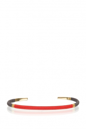 Satellite Paris | 14k vergulden armband Giana | rood