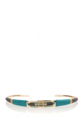Satellite Paris |  14k gilded metal bracelet Tanarive | blue