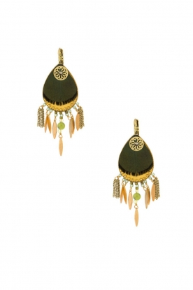 Satellite Paris |  14k gilded gold earrings Aldis | green