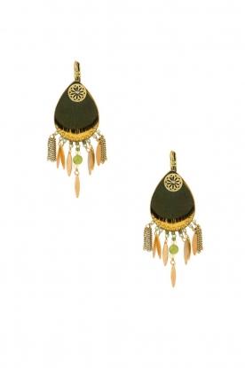 Satellite Paris | 14k verguld gouden oorbellen Aldis | groen