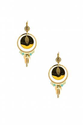 Satellite Paris |  14kt gilded gold earrings Theresia | green