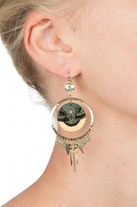 Satellite Paris | 14kt verguld gouden oorbellen Theresia | groen