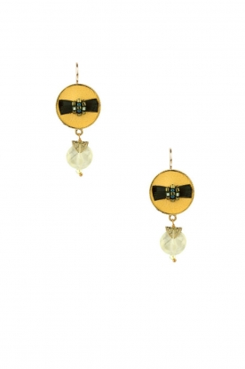 Satellite Paris |  14k gilded earrings Jade | green