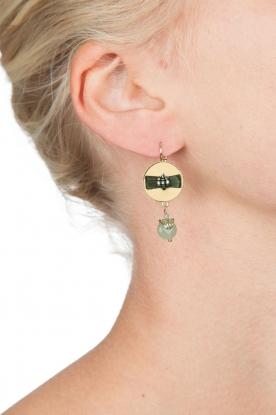 Satellite Paris   14k vergulden oorbellen Jade   groen