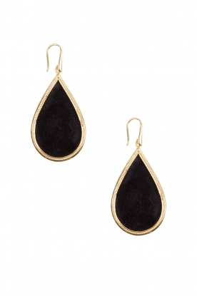 Close to Zen |   22ct plated earrings Little Tears of Joy big | black