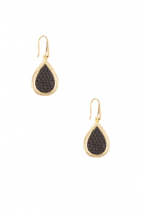 Close to Zen |  22ct gold plated earrings Tears Snake | black