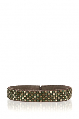 Tembi |  Leather bracelet with beads Checker | green