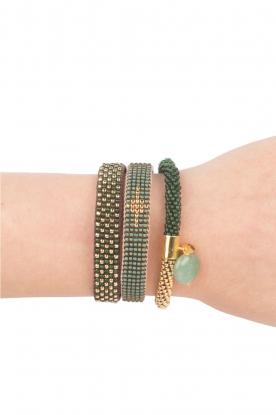 Tembi | Leren armband met kralen Checker | groen