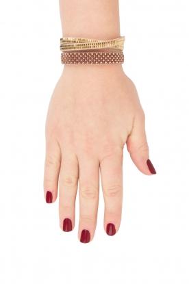 Tembi | Leren armband met kralen Checker | bordeaux