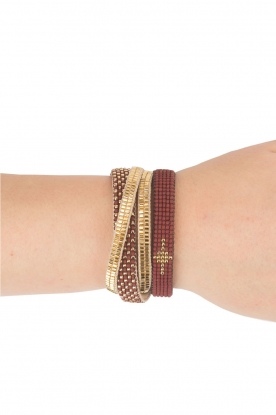 Tembi |  Leather bracelet with beads | bordeaux