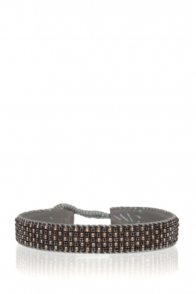 Tembi |  Leather bracelet with beads Checker | blue