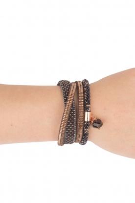Tembi | Leren armband met kralen Checker | blauw