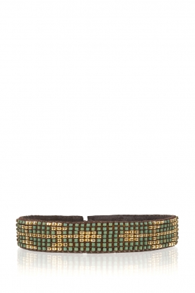 Tembi |  Leather bracelet with beads Isa Arrow | green